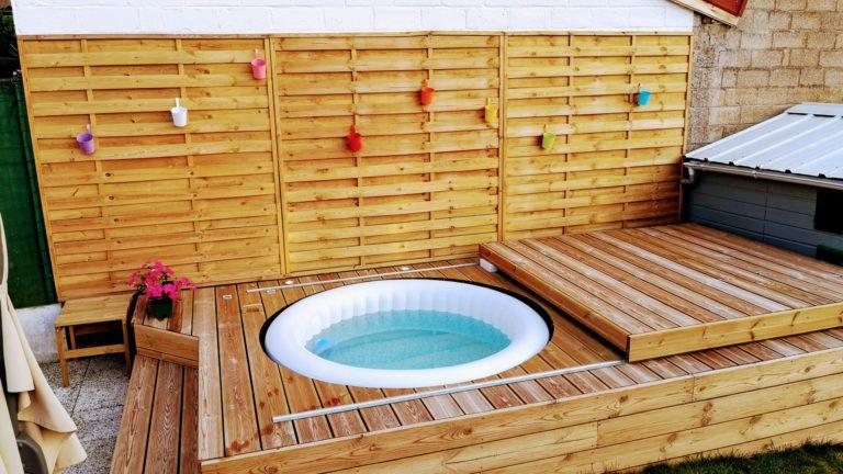 Fabriquer une terrasse pour SPA gonflable, avec couvercle motorisé.