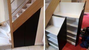 Read more about the article Fabriquer un meuble à chaussures sous escalier coulissant et sur-mesure